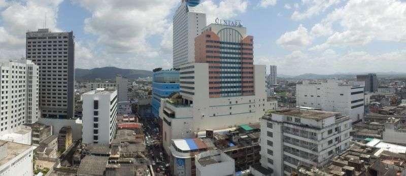 Panoramabild von der Aussicht aus dem Zimmer