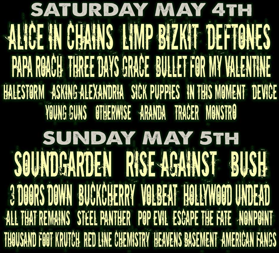 immagine line-up Carolina Rebellion 2013